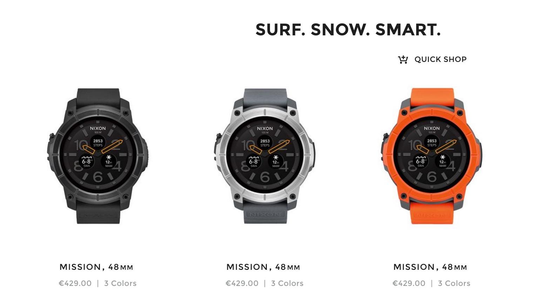 Nixon Mission-smartwatch met Android Wear nu voor te bestellen