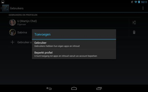 Add Setting User tablet users and create profiles on your Android tablet
