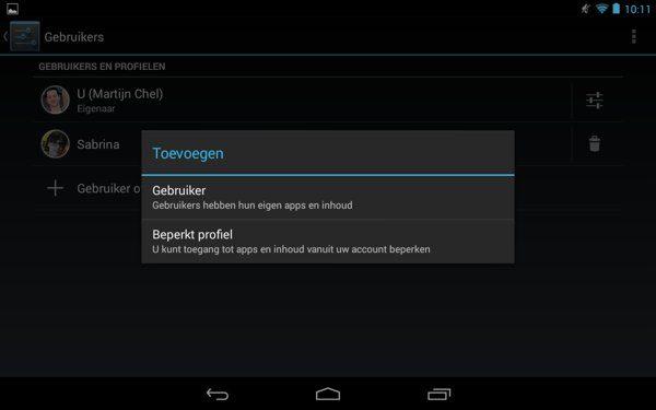Gebruiker-of-profiel-tablet