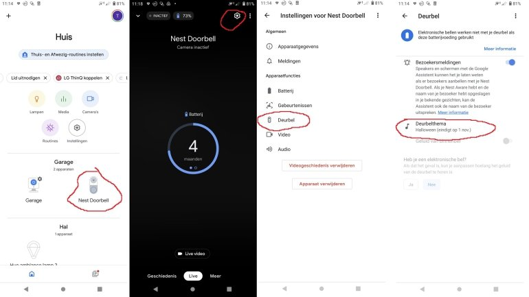 Google Nest Doorbell deurbelthema wijzigen