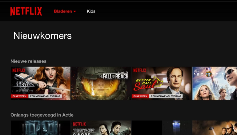 Netflix homepagina