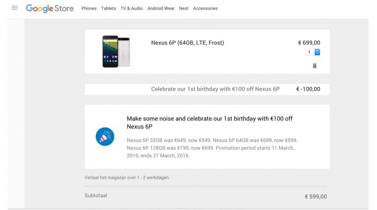 Nexus 6P aanbieding