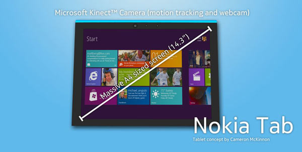 Nokia Tab 3Concept: Nokia Tab met Windows 8 en Microsofts Kinect camera