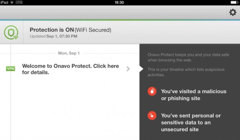 Onavo Protect VPN iPad app