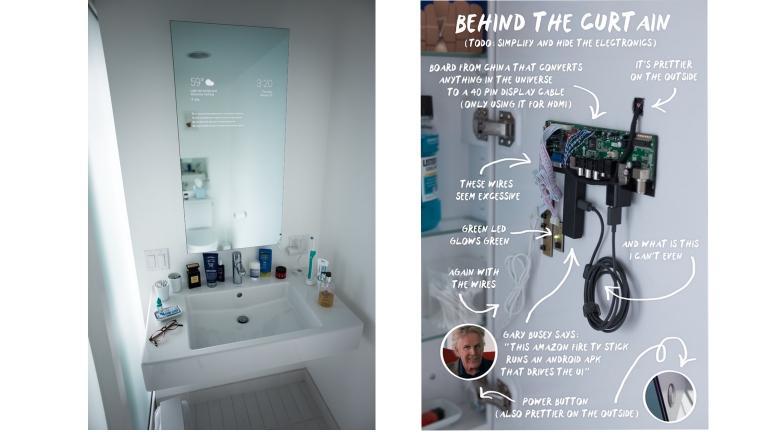 Google werknemer maakt interactieve badkamerspiegel smarthome