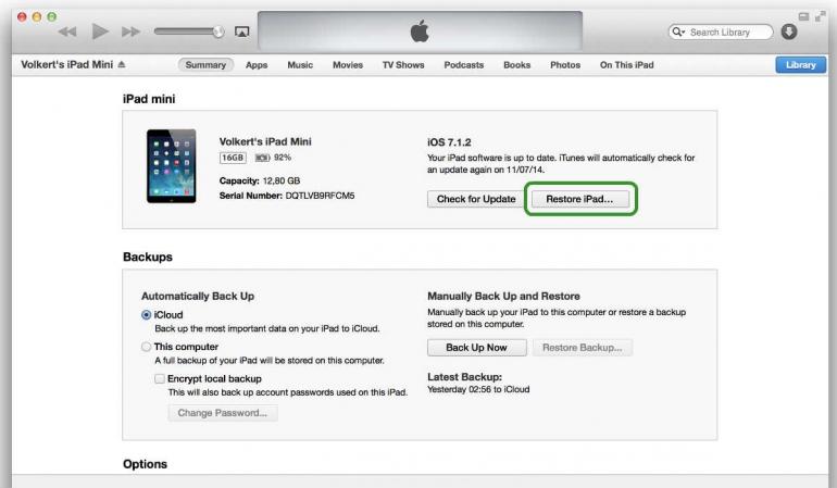 Toegangscode kwijt restore iPad