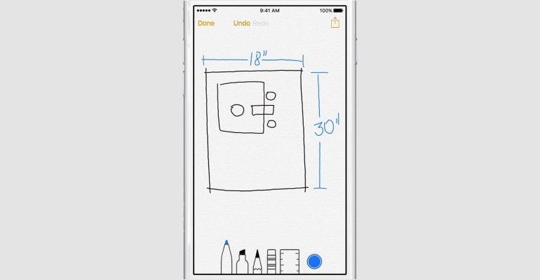 iOS 9 notities tekenen