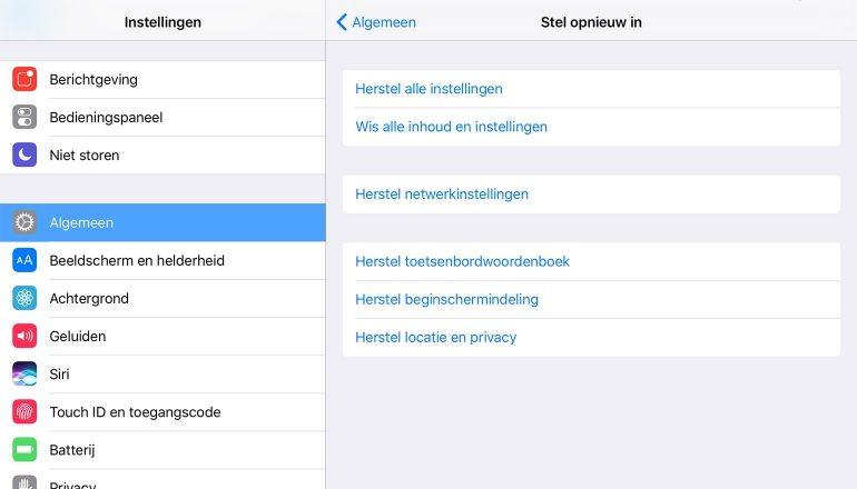 iPadAir2 Resetten