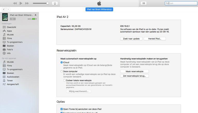 iPadAir2 itunes resetten