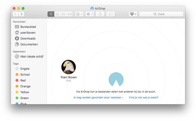 AirDrop verzenden op Mac