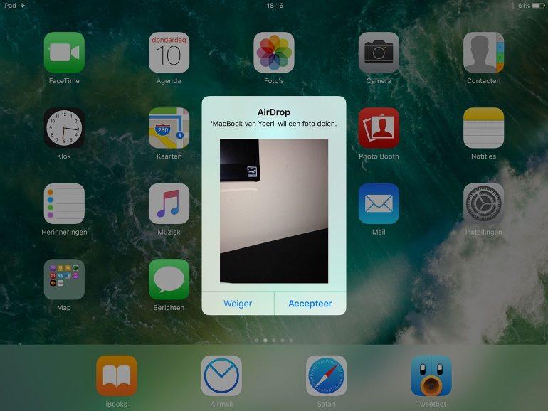 AirDrop ontvangen op iOS