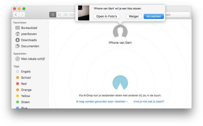 AirDrop ontvangen op Mac