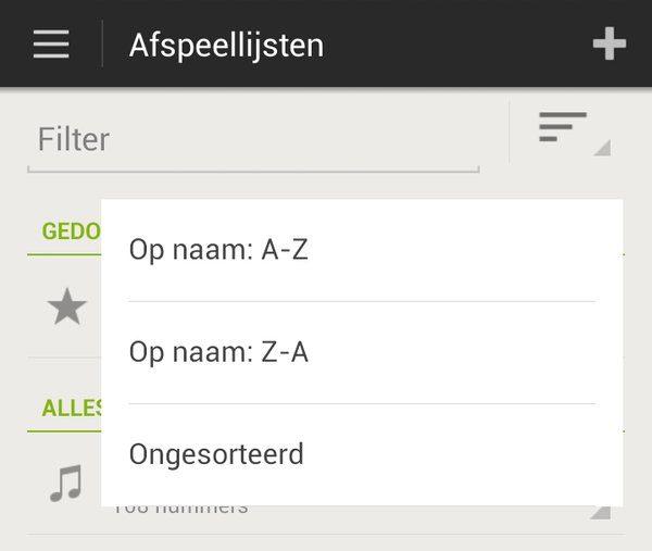 update Spotify sorteren